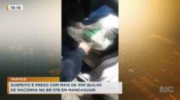 Suspeito é preso com mais de 300 quilos de maconha na BR-376, em Mandaguari