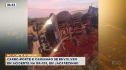 Carro forte e caminhão se envolvem em acidente na BR-153, em Jacarezinho