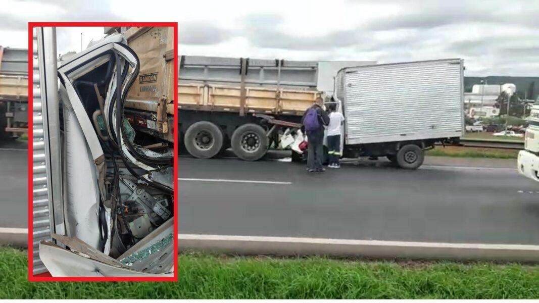 Motorista fica preso nas ferragens em acidente na BR-277, em Ponta Grossa