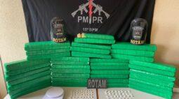 PM apreende 39 tabletes de maconha, em Rolândia
