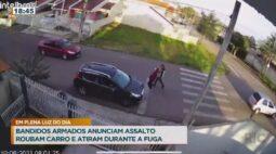 Bandidos armados anunciam assalto roubam carro e atiram durante a fuga