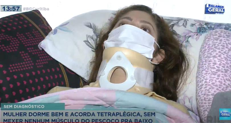 Mulher deita para dormir e acorda tetraplégica no dia seguinte