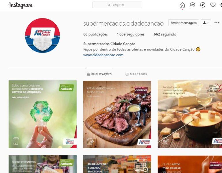 Conta falsa no Instagram se passa pelo Supermercados Cidade Canção, de Maringá; suspeita é de Golpe do Whatsapp