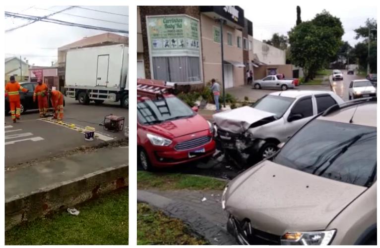 Prefeitura reforça sinalização na CIC após acidente envolvendo três carros