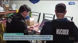 Operação da polícia civil busca suspeitos de crimes sexuais contras crianças na internet