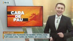 Ladrões são filmados no Bairro Interlagos, furtando uma tampa de ferro, em Cascavel