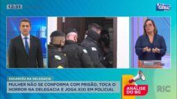 """Mulher não se conforma com prisão, """"toca o terror"""" na delegacia e joga xixi em policial"""