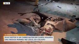 Duas motos e um carro batem em Campo Mourão, uma pessoa morreu no local