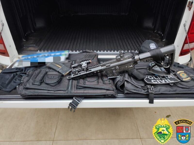 PM prende três pessoas e apreende fuzil e roupas da Polícia Civil, em Arapongas