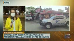 Operação da Receita, PF e Batalhão de fronteira fiscalizam boxes em Foz do Iguaçu