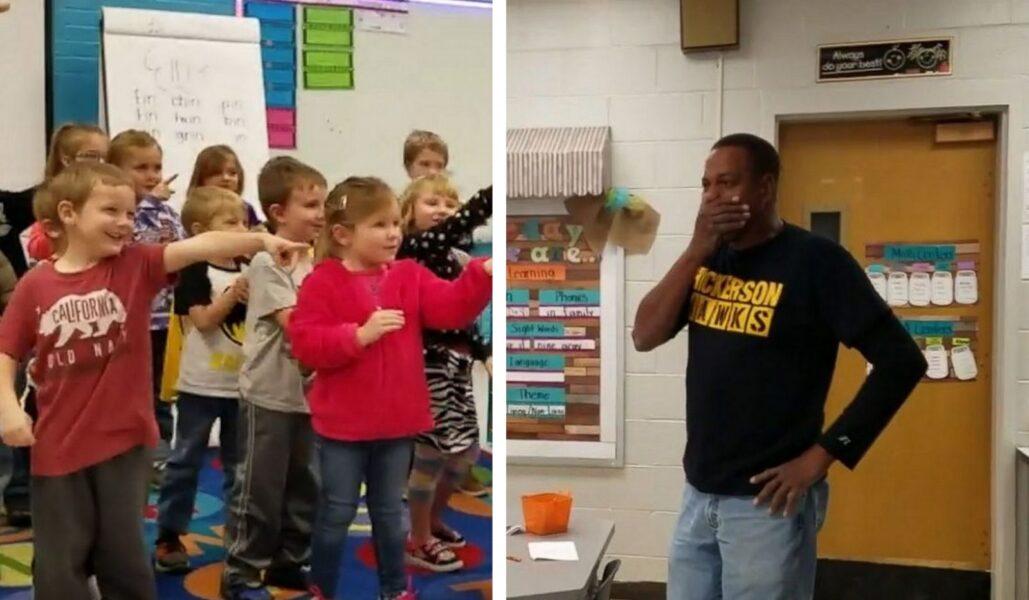 Alunos cantam parabéns em língua de sinais para zelador surdo; veja o vídeo