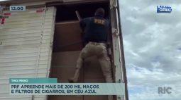 PRF apreende mais de 200 mil maços e filtros de cigarros, em Céu Azul