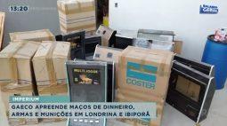 Gaeco apreende maços de dinheiro, armas e munições em Londrina e Ibiporã