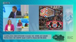 Carolina Dieckmann causa na web ao usar máscara de grife que custa mais de 800 reais