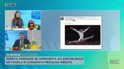 """Rebeca Andrade se apresenta ao som de """"Baile de Favela"""" e conquista medalha inédita nas olimpíadas"""