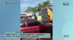 Homem tenta agredir bebê no carrinho e mãe luta para salvar a criança
