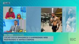 Lucas Lucco emagrece e surpreende web mostrando o antes e depois