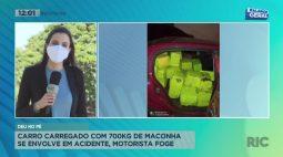 Carro carregado com 700kg de maconha se envolve em acidente, motorista foge