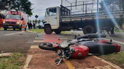 Motociclista fica ferido em acidente na Av. Adhemar Pereira de Barros, em Londrina