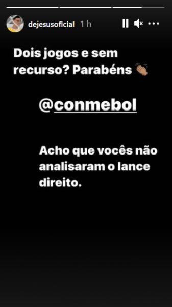 """Gabriel Jesus critica Conmebol após punição: """"Não analisaram o lance direito"""""""