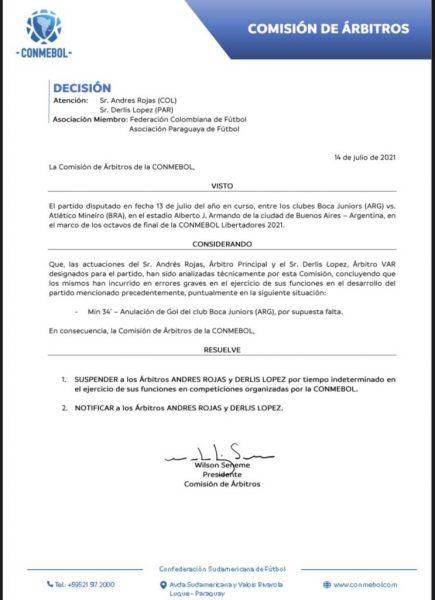 """Conmebol reconhece """"erros graves"""" e suspende árbitros de jogos de Atlético-MG e Fluminense"""