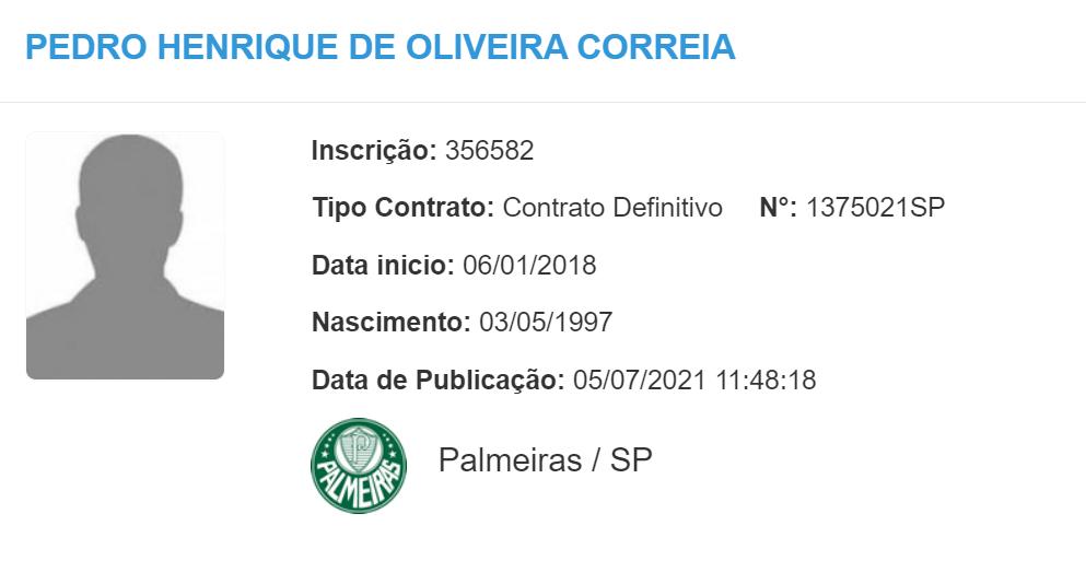 Pedrão é registrado no BID e está liberado para atuar pelo Palmeiras