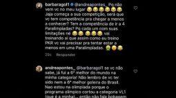 Titular da Seleção nos Jogos, goleira Bárbara discute com atleta paralímpica no Instagram