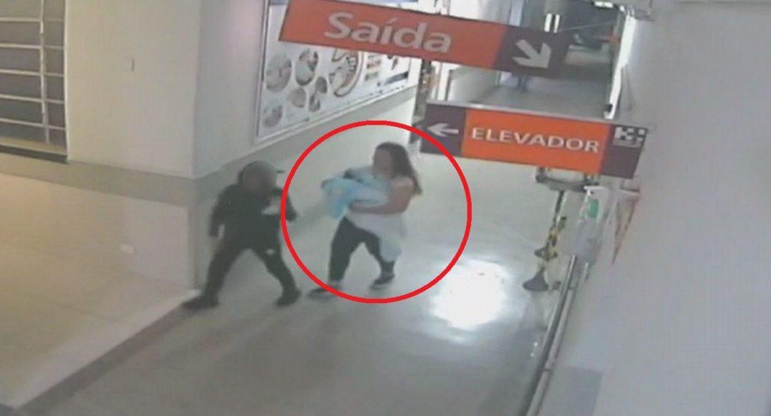 Imagens mostram suspeita com recém-nascido no colo dentro do hospital em Curitiba; assista