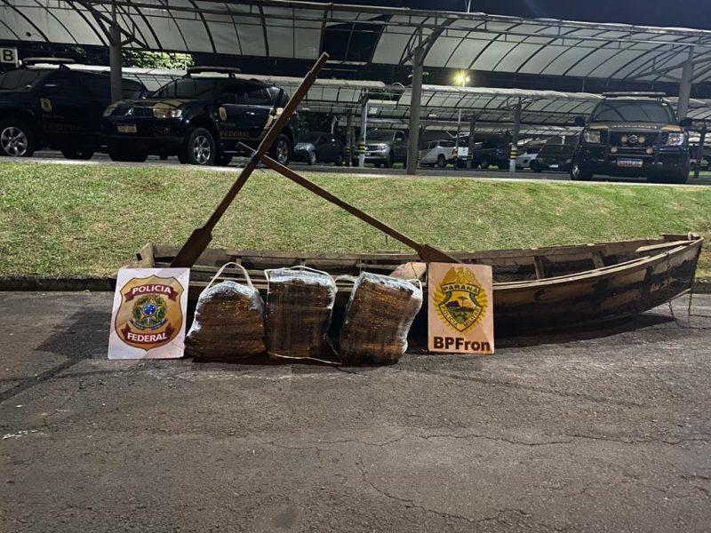 Polícia apreende quase 100 quilos de maconha em barco no Rio Paraná