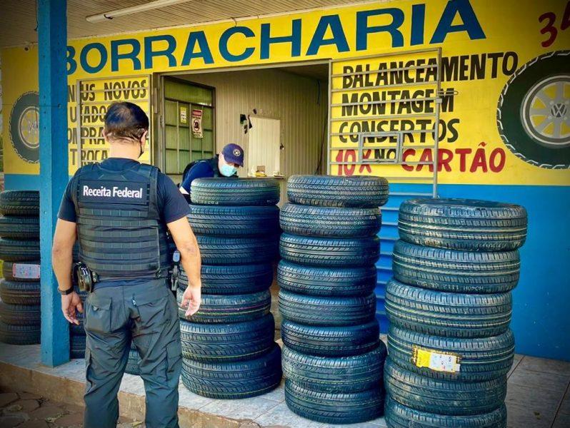 Receita Federal apreende 66 pneus importados na cidade de Toledo
