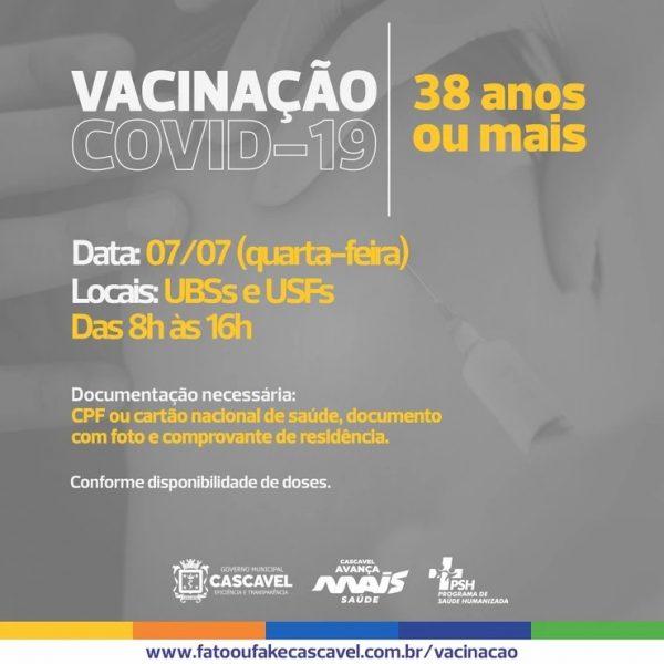 Pessoas com 38 anos começam a ser imunizadas contra a Covid-19 nesta quarta-feira (07) em Cascavel