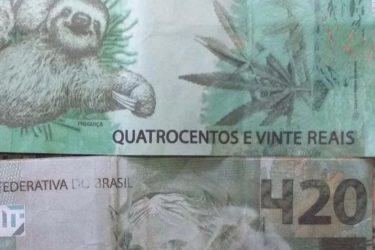 Idoso recebe pagamento de empréstimo com nota falsa de R$ 420 com estampa de maconha e bicho-preguiça