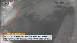 Moto e carro se chocam em cruzamento, motociclista de 22 anos morre no local