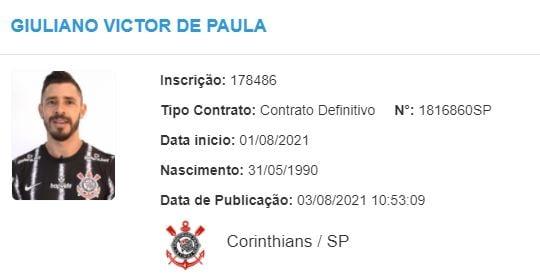Giuliano é registrado no BID e já pode estrear pelo Corinthians