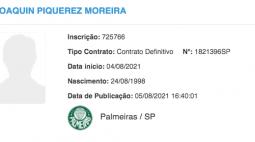 Piquerez é registrado no BID e pode estrear pelo Palmeiras contra o Fortaleza