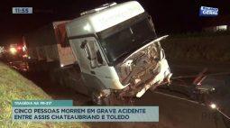 Cinco pessoas morrem em grave acidente entre Assis Chateaubriand e Toledo