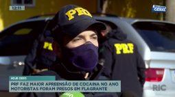 PRF faz maior apreensão de cocaína no ano motoristas foram presos em flagrante