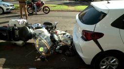 PM sofre acidente durante perseguição, em Londrina; motociclista conseguiu fugir