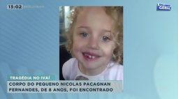 Corpo do pequeno Nicolas Pacagnan Fernandes, de 8 anos foi encontrado