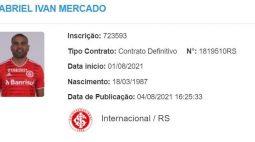 Mercado é regularizado no BID e fica à disposição para estrear pelo Inter contra o Flamengo