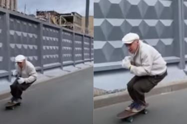 Skatista de 73 anos viraliza nas redes sociais com manobras inovadoras