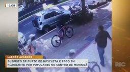 Suspeito de furto de bicicleta é pego em flagrante por populares no centro de Maringá