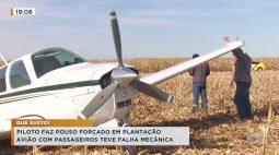 Piloto faz pouso forçado em plantação, avião com passageiros teve falha mecânico