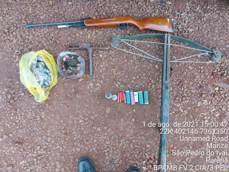Mais de dois quilos de carne de capivara, uma arma de fogo e munições são apreendidas em São Pedro do Ivaí