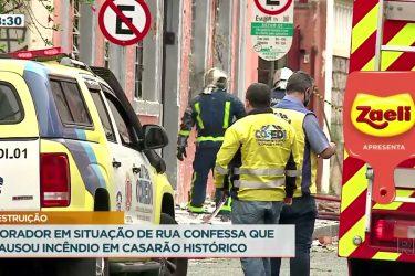 Morador em situação de rua confessa que provocou incêndio em prédio no Bairro São Francisco