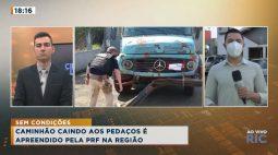 Caminhão caindo aos pedaços é apreendido pela PRF em Apucarana