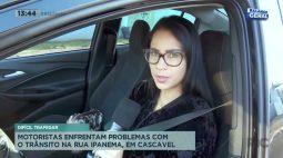 Motoristas enfrentam problemas com o trânsito na Rua Ipanema, em Cascavel