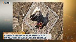 Colher é utilizada para furtar fios na Alameda Miguel Blasi