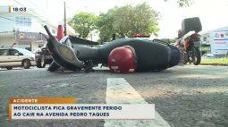 Motociclista fica gravemente ferido ao cair na Avenida Pedro Taques