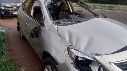 Motorista perde o controle, capota e fica gravemente ferido na BR-467